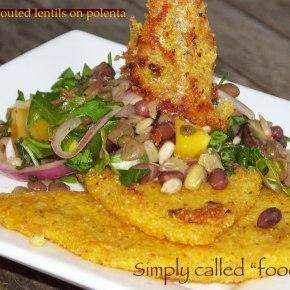 Sprouted lentils onpolenta