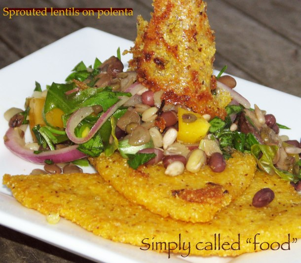 Sprouted lentils on polenta