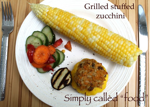 Grilled stuffed zucchinis
