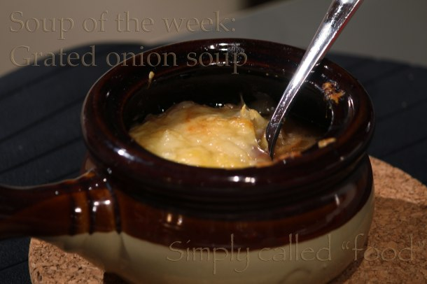 Grated onion soup