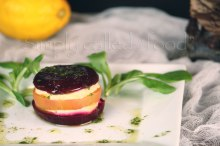 Beets and hummus in layers