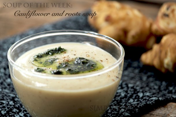 Cauliflower and roots soup